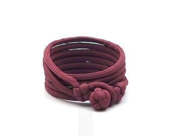 marsala mens paracord wrap bracelet made in italy, bracelet for him, burgundy unisex bracelet