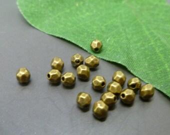 25 Small Bronze  Beads -  Faceted Antique Tibetan Bronze Beads -MB054