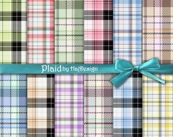 "Plaid digital paper : ""PLAID"" tartan digital paper for scrapbooking, decoupage, card making / plaid patterns / digital paper pack"