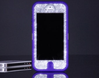 OTTERBOX Case iPhone 5 Custom Glitter Otterbox Defender Case Silver Sparkly iPhone 5 Case