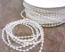 3mm Round Clear AB Pearl Beaded Garland Trim 2 Yards Plastic Fused Bead Strand