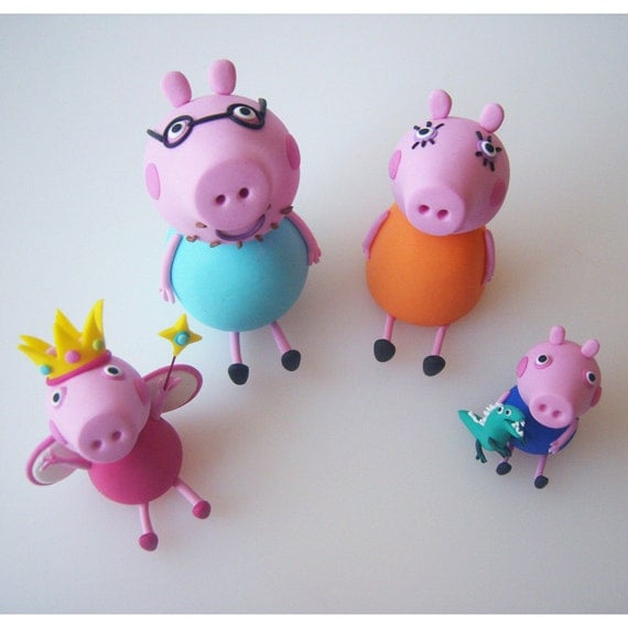 peppa pig cake topper set edible fondant icing