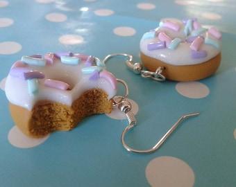 Polymer Clay Iced Doughnut Drop Earings, Ring, Hair Slides, Bobby Pins, Doughnut Jewellery