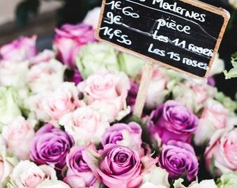 Paris Flower Market Photo - Paris Photography, Fine Art Photography, Paris Print, Pink Roses, Paris Decor, French Home Decor, Purple, Pink