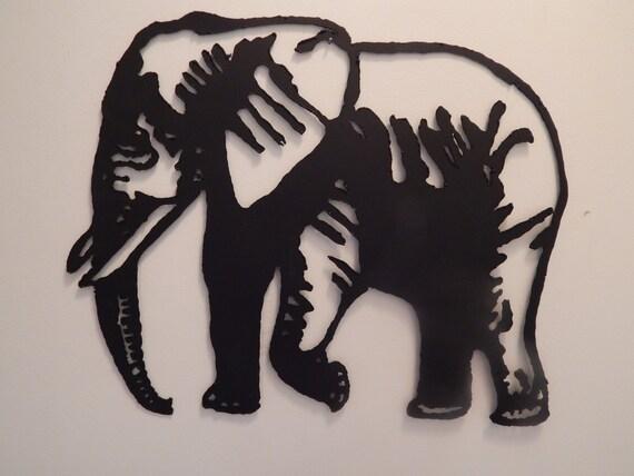 Metal Elephant Wall Decor : Steel metal art elephant black flat wall sculpture