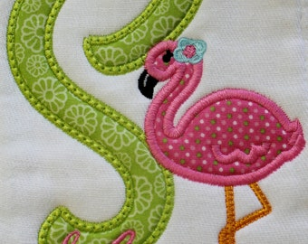 Burp Cloth with Flamingo in Pink and Green Personalized