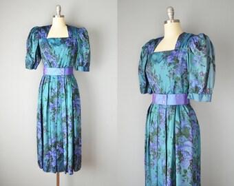 Vintage 50s Dress // 1950s Lanz Silk Floral Dress // Medium