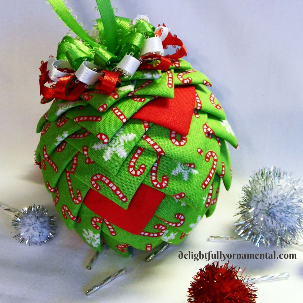 SALE Quilted Fabric Christmas Ornament Pine Cone Decoration