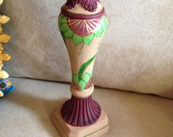 Hand Painted Bohemien Taupe Candle Holder C0032