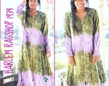 LAVENDER GREEN Lovely Vintage 1980s Velvet-like Crinkled Rayon Boho Dress or/and Jacket or/and Outerwear