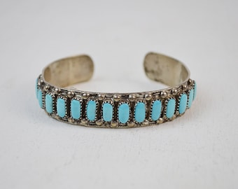 vintage ZUNI old dead pawn TURQUOISE sterling silver Native American SIGNED cuff bracelet