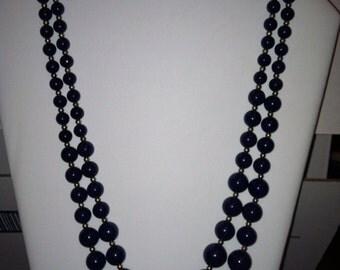 Dark Blue Double Strand Necklace