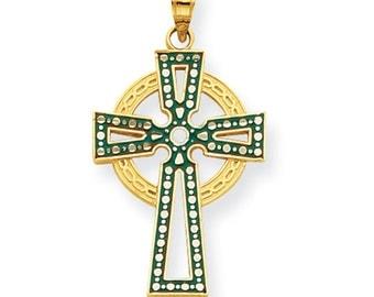 14k Irish Cross, Enamel Cross, Irish Cross, Gold Cross, Gold Irish Cross, Green Irish Cross, Cross, Cross Pendant, Irish Cross Pendant