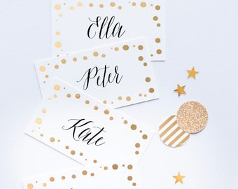 CONFETTI GOLD Place Cards/Buffet Labels, gold foil gift tags, confetti gift tags
