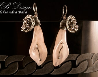 SALE Pink Lily - silver wire wrapped earrings with pink quartz