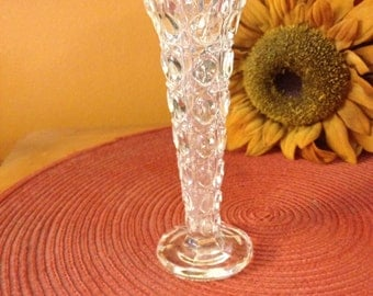 GLASS BUD VASE, lovely pressed glass beautiful design, wedding decor