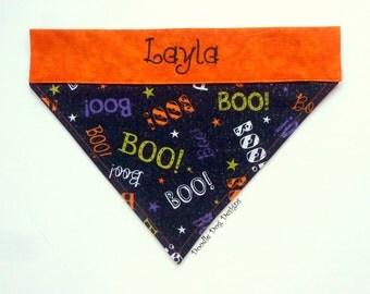 """Personalized Dog Bandana/ Pet Bandana/ Over The Collar Dog Bandana/ Halloween Dog Bandana/ """"Boo!"""""""