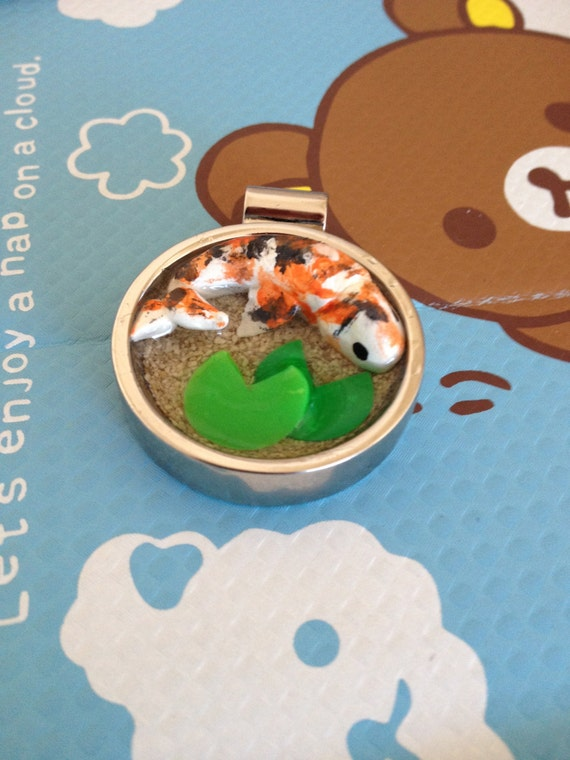 Items similar to polymer clay resin koi fish pond pendant for Clay fish pond