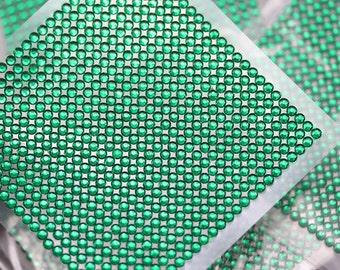 3mm Green Emerald Stick On Acrylic Rhinestone Sheets Stickers - 625 Self Adhesive Gems