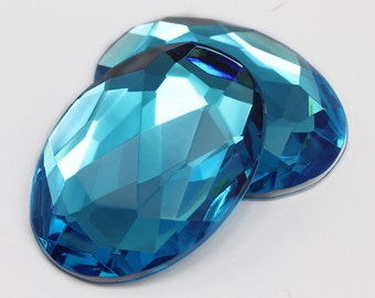 40x30mm Blue Aqua H109 Flat Back Acrylic Oval Jewels High Quality Pro Grade Lead Free Costume Gems Rhinestones