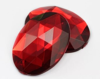40x30mm Red Ruby H103 Flat Back Acrylic Oval Jewels High Quality Pro Grade Lead Free Costume Gems Rhinestones