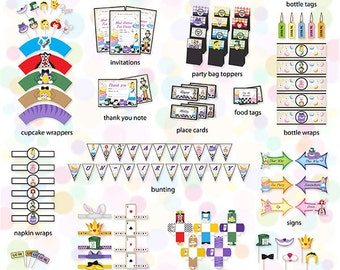 Bright Mad Hatter Party Printables Pack