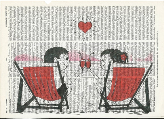Illustration of Couple on the Beach Dictionary Art Print   on Upcycle Vintage Page Book Print Art  Collage Print