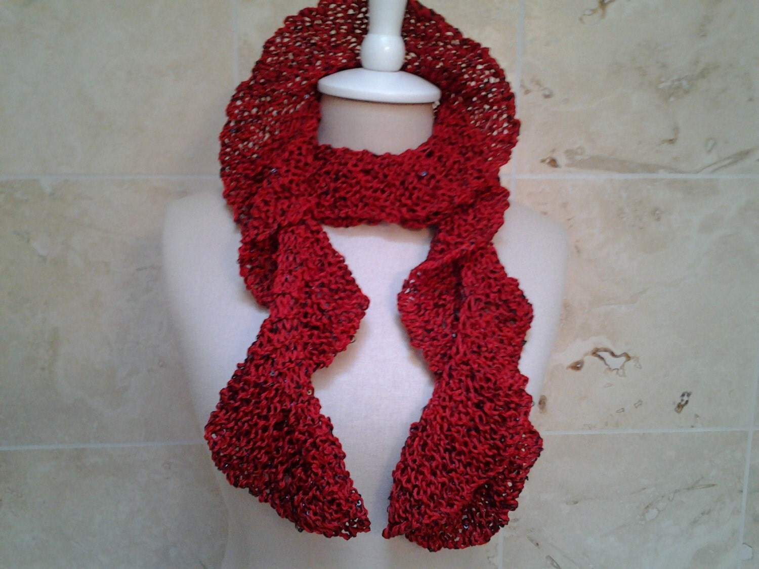 Hand Knit Ruffle Scarf Red Black Sequins by NeckKnitter on Etsy