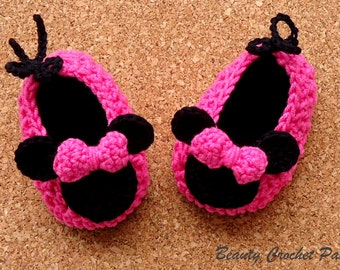 Crochet Baby Pattern Miss Bow Mouse, Minnie Baby Crochet Shoes Pattern, Minnie Crochet baby Slippers Pattern