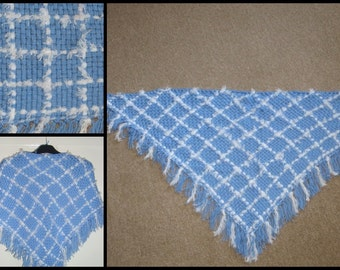Warm and soft Scarf weaved on a frame, triangle scarf, fringed scarf, Shawl, winter accessories, sky blue and white shawl, Mother's day gift