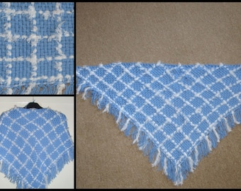 Warm and soft Scarf weaved on a frame, triangle fringed scarf, Shawl, winter accessories, Unique scarves, sky blue and white shawl