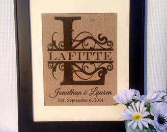 Family Initial name est. design wedding gift anniversary gift  personalized sign on real burlap
