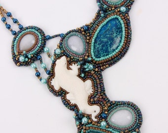 Bead embroidered Necklace.