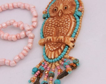 Bead embroidered Owl Necklace