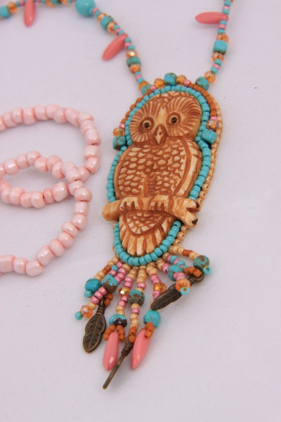 Bead embroidered owl necklace by spijckerhard on etsy