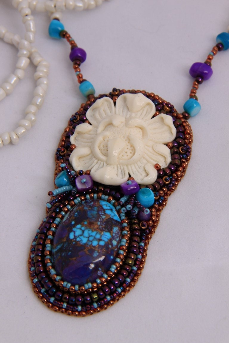 Bead embroidered lotus necklace by spijckerhard on etsy