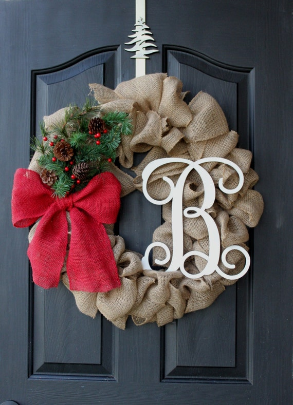 Unavailable listing on etsy for How to decorate a burlap wreath for christmas
