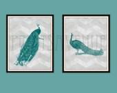 PEACOCK Art Prints, PEACOCK Pair Wall Art, CHEVRON Wall Decor, Teal and Gray by Prints Avenue