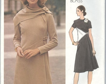 1970s Vogue Dress Pattern Vintage Sewing Patterns Vogue Americana 2673 Bill Blass Dress Scarf A-Line Dress Size 14