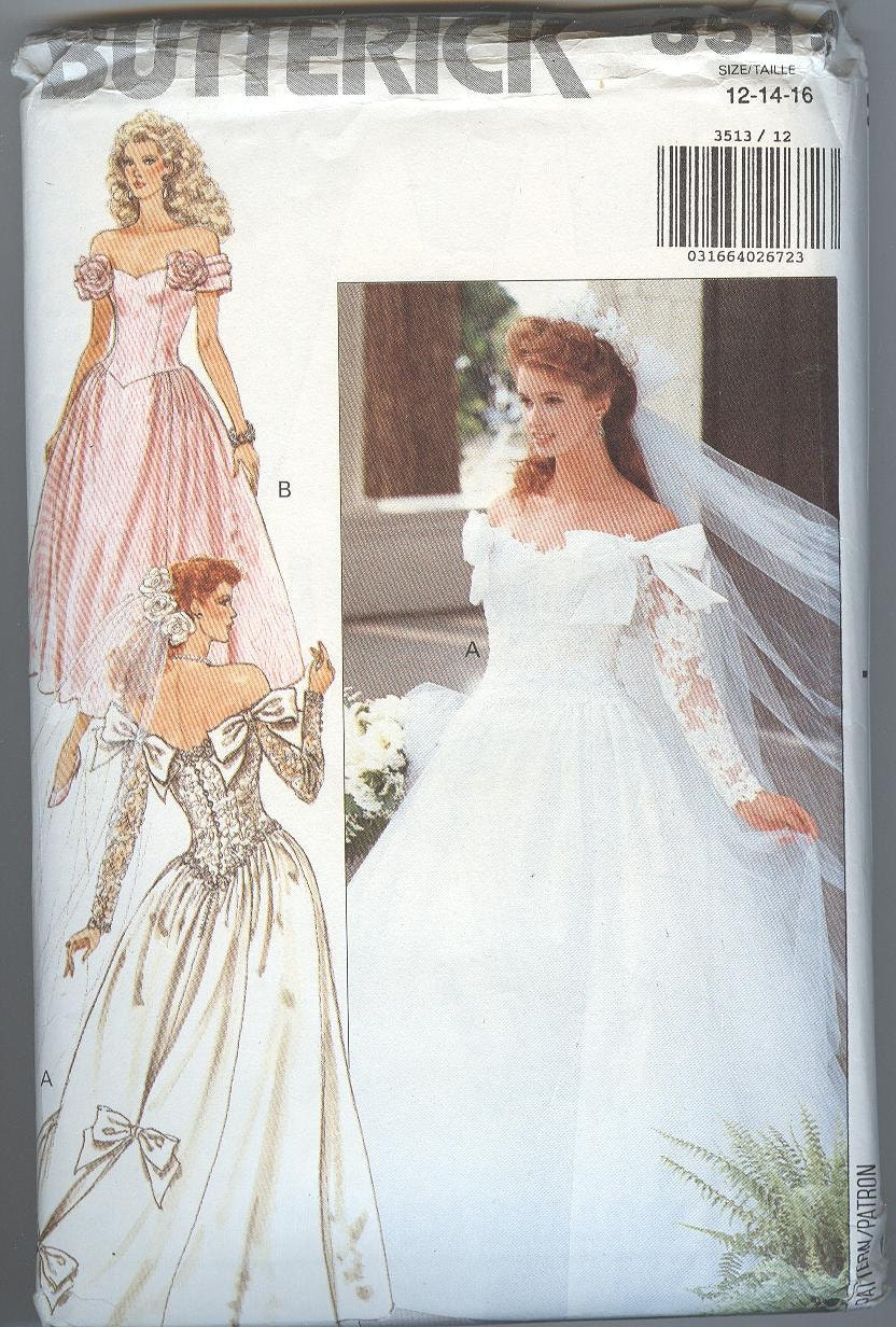 1980s wedding dress pattern butterick 3513 bridesmaid low back for High low wedding dress patterns