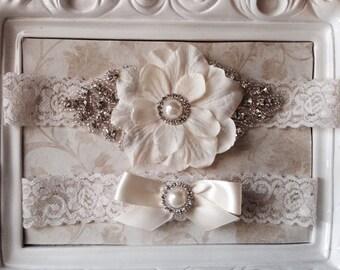Wedding Garter - Bridal Garter - Ivory Flower and Crystal Rhinestone and Pearl Garter and Toss Garter Set