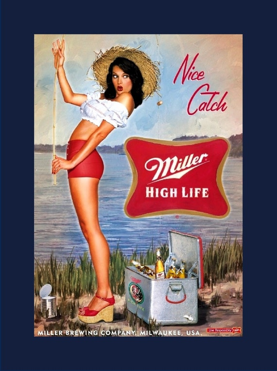 Miller Beer Advertising Poster Ad Home Bar Man Cave Wall ...