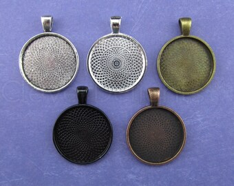 """20 - 1 Inch Round Pendant Trays - Mix and Match - Bronze Copper Silver Black - Vintage Antique Style Pendant Blanks Bezel Setting 25 mm 1"""""""
