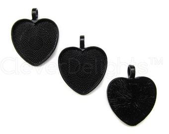 "20 - 1 Inch Heart Pendant Trays - Dark Black Color - Vintage Antique Style Pendant Blanks Bezel Setting Cameo Resin 25 mm 1"""