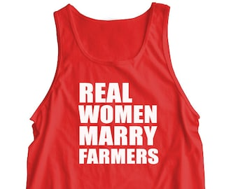 """New """"Real Women Marry Farmers"""" UNISEX Tank Top for Wife, Husband, Boyfriend, Girlfriend, Wedding, Birthday, Christmas, Party, Brother S-2XL"""