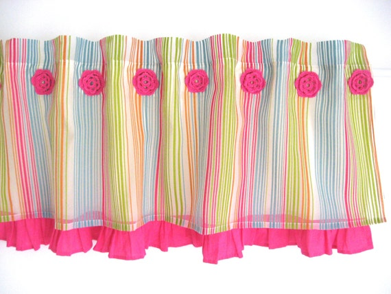 Items Similar To Pink Ruffle Green Turquoise Orange Girls Valance Baby Room Nursery Window