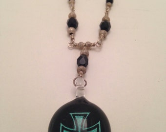 Sterling Silver Chain with Faceted Czech Glass Beads and Iron Cross Pendant