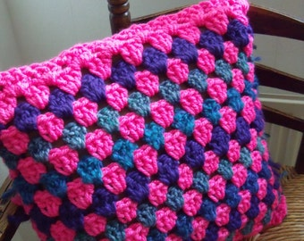 crochet blue/purple/pink Cushion cover (50/50 cm.)