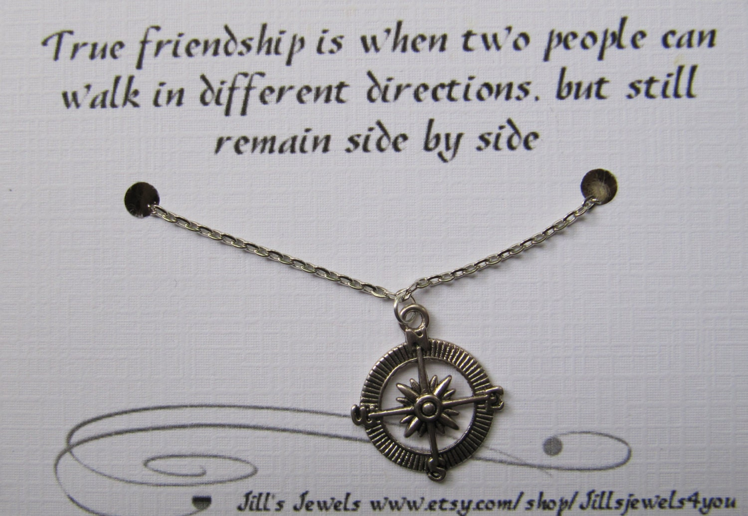 Quotes About Friendship Gifts : Compass best friend necklace and quote by jillsjewels you