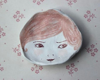 Illustrated Ceramic Face Dish- Pink Hair Girl. Ring Dish, Small Dish, Trinket Dish
